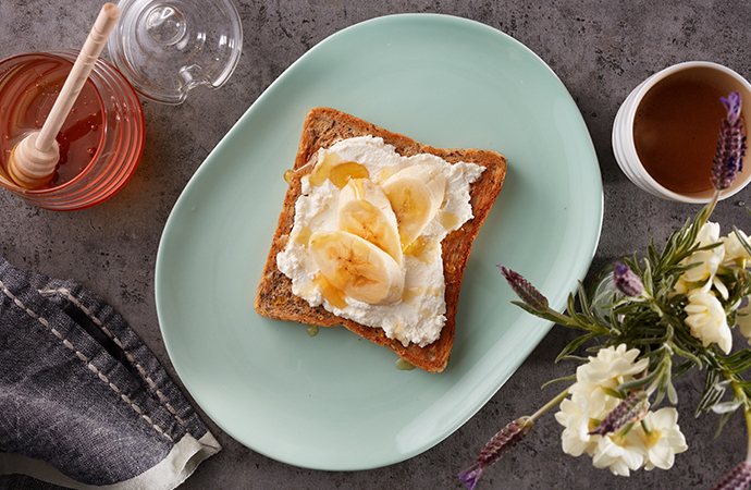 Ricotta Banana and Honey on Toast