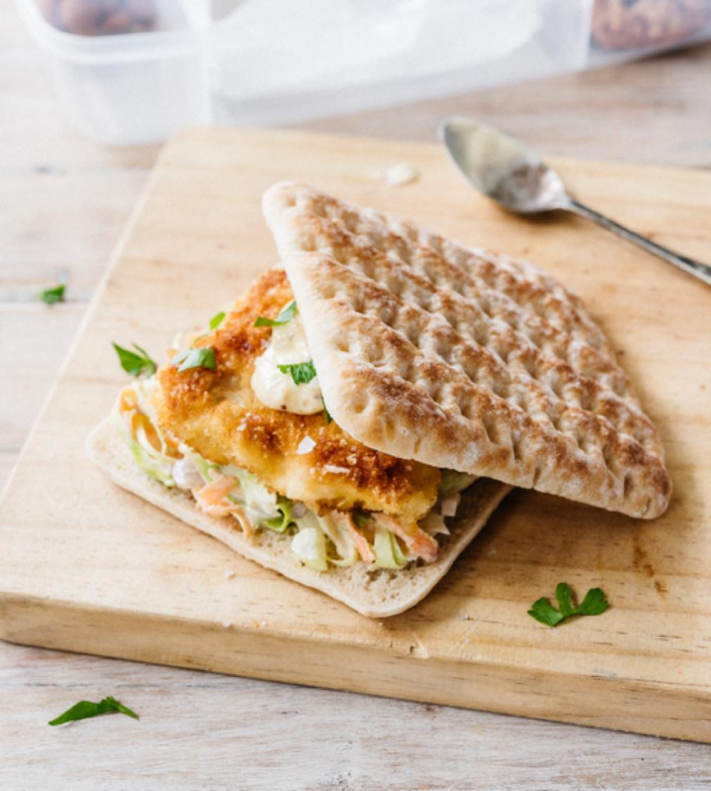 Chicken Schnitzel and Slaw Sandwich Thins